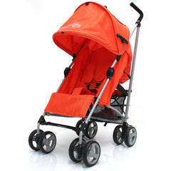 Baby Stroller Zeta Vooom Orange With XXL Large Padded Footmuff Pushchair Liner - Baby Travel UK  - 6