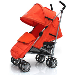Baby Stroller Zeta Vooom Orange With XXL Large Padded Footmuff Pushchair Liner - Baby Travel UK  - 2