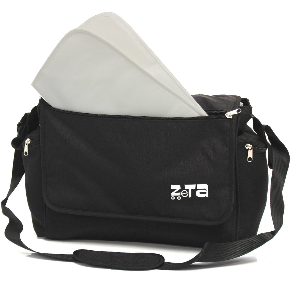 Baby Travel Zeta Changing Bag Plain BLACK Complete With Changing Matt - Baby Travel UK  - 1