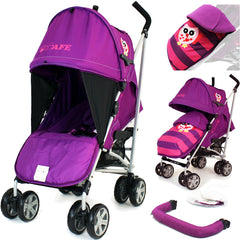 (Limited Edition) i-Safe Baby Stroller Owl & Button With Rain Cover, Cosy Toes & Bumper Bar