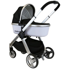Marvel 3in1 Pram - Black Pearl Pram Travel System (+ Luxury Carrycot + Car Seat) - Baby Travel UK  - 9