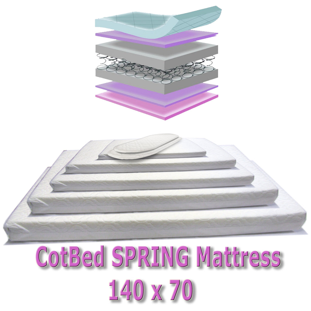 New Supercool Sprung Cot Bed Junior Bed Mattress Cot Bed 140 X 69 x 14 Cm - Baby Travel UK  - 1