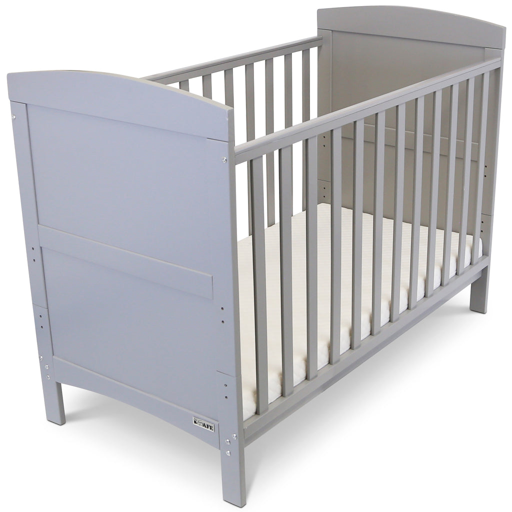Baby Bed Cot Crib Grey With Mattress White