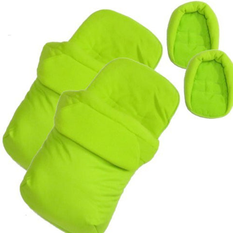 New X2 Luxury Footmuff & Head Hugger Lime Fits Baby Jogger Twin Double Stroller