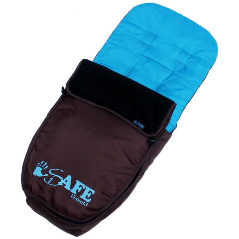 Genuine iSafe Visual 3 Universal Deluxe 2 In 1 Footmuff Cosytoes Liner - Brown & Blue