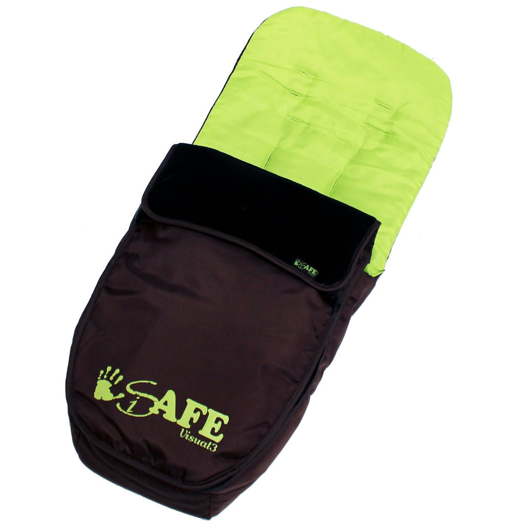 Genuine iSafe Visual 3 Universal Deluxe 2 In 1 Footmuff Cosytoes Liner - Chocolate And Lime - Baby Travel UK