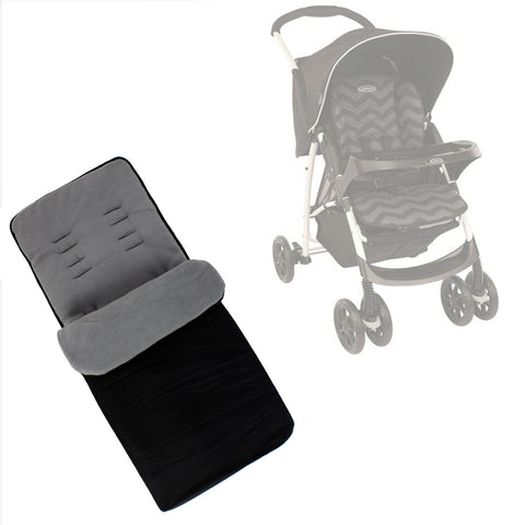 Buddy Jet Foot Muff Grey Suitable For Graco Mirage Plus Travel System (Black ZigZag)