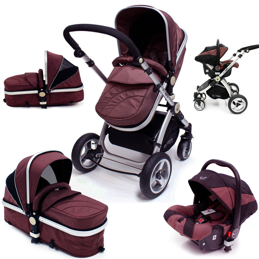 iSafe 3 in 1  Pram System - Hot Chocolate Pram Travel System + Carseat - Baby Travel UK  - 1