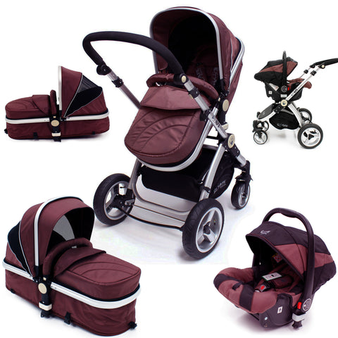 SALE!!! iSafe 3 in 1  Pram System - Hot Chocolate (Brown) Pram Travel System + Carseat
