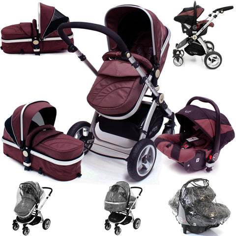 iSafe 3 in 1  Pram System - Hot Chocolate Travel System + Carseat + Raincover Package