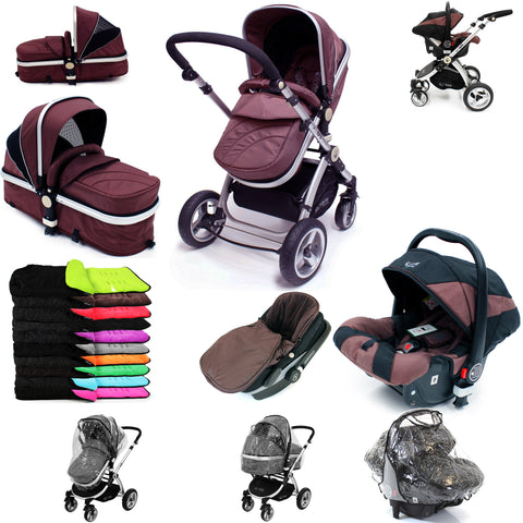 iSafe 3 in 1  Pram System - Hot Chocolate With Carseat, Footmuff & Raincover Package