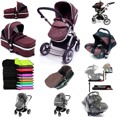 iSafe 3 in 1  Pram System - Hot Chocolate With Carseat, Isofix Base, Footmuff & Raincover