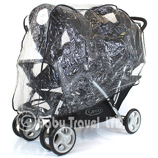Tandem Raincover For Combi Caterpillar Stroller Double Buggy Rain Cover - Baby Travel UK  - 1