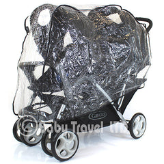 Tandem Raincover For Combi Caterpillar Stroller Double Buggy Rain Cover - Baby Travel UK  - 3