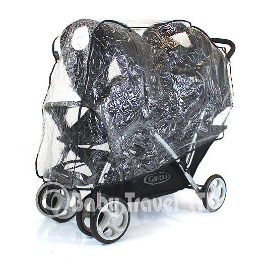 Raincover Fits Graco Quattro Duo Twin Tandem Rain Cover - Baby Travel UK  - 1