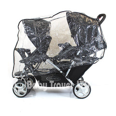 Raincover Fits Graco Quattro Duo Twin Tandem Rain Cover - Baby Travel UK  - 2