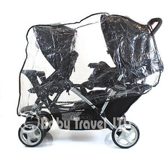Tandem Raincover For Combi Caterpillar Stroller Double Buggy Rain Cover - Baby Travel UK  - 2