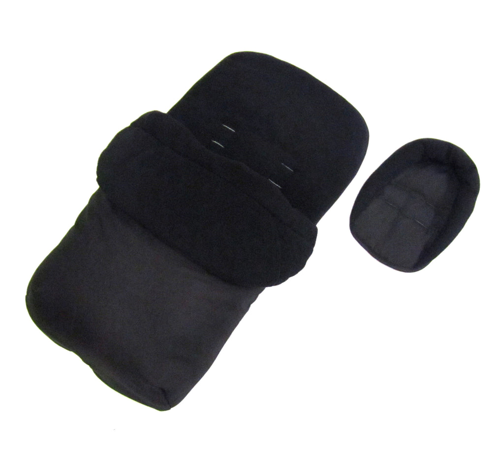 New Baby Travel Footmuff & Head Hugger Black Plain To Fit All Stroller Pushchair - Baby Travel UK  - 1