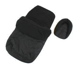 New Baby Travel Footmuff & Head Hugger Black Plain To Fit All Stroller Pushchair - Baby Travel UK  - 2