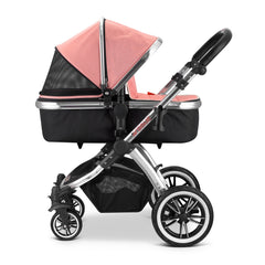 iVogue - Peach Luxury 3in1 Pram Stroller Travel System By iSafe+Changing Bag+Carseat