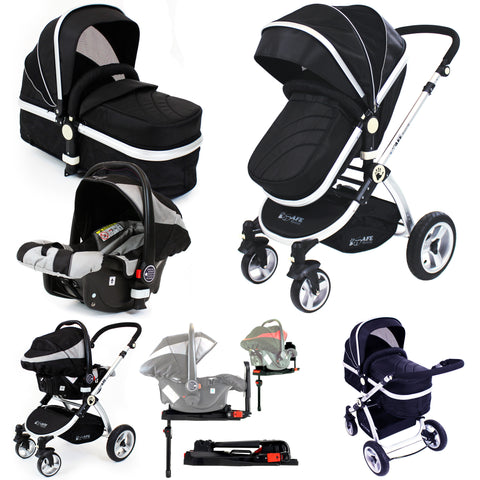 iSafe System - Black Pram Travel System Carseat & iSOFIX Base, Footmuff & Raincovers Package
