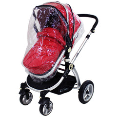 iSafe System - Red Travel Pram System Complete Package With Bedding + Raincover & Footmuff - Baby Travel UK  - 11