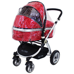 iSafe System - Red Travel Pram System Complete Package With Bedding + Raincover & Footmuff - Baby Travel UK  - 12