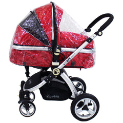iSafe System - Red Travel Pram System Complete Package With Bedding + Raincover & Footmuff - Baby Travel UK  - 13