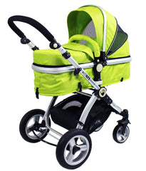 iSafe 3 in 1  Pram System - Lime Carseat Isofix Base + Footmuff & Raincover Package - Baby Travel UK  - 6
