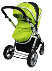 iSafe 3 in 1  Pram System - Lime + Carseat + Footmuff & Raincover Package - Baby Travel UK  - 4