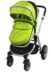 iSafe 3 in 1  Pram System - Lime Carseat Isofix Base + Footmuff & Raincover Package - Baby Travel UK  - 3