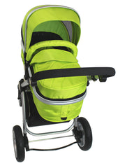 iSafe 3 in 1  Pram System - Lime Carseat Isofix Base + Footmuff & Raincover Package - Baby Travel UK  - 9