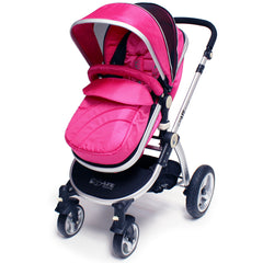 iSafe 3 in 1  Pram System - Raspberry Pink + Carseat Isofix Base + Footmuff & Raincover Package - Baby Travel UK  - 3