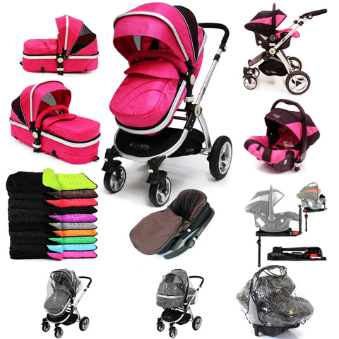 iSafe 3 in 1  Pram System - Raspberry Pink + Carseat Isofix Base + Footmuff & Raincover Package
