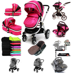 iSafe 3 in 1  Pram System - Raspberry Pink + Carseat Isofix Base + Footmuff & Raincover Package - Baby Travel UK  - 1