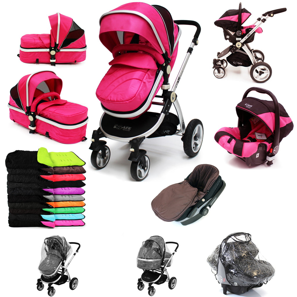 iSafe 3 in 1  Pram System - Raspberry Pink + Carseat + Footmuff & Raincover Package - Baby Travel UK  - 1