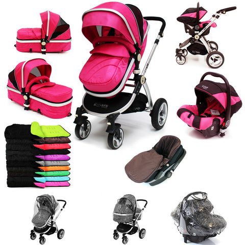 iSafe 3 in 1  Pram System - Raspberry Pink Travel System + Carseat + Raincover Package