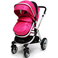 iSafe 3 in 1  Pram System - Raspberry Pink + Carseat Isofix Base + Footmuff & Raincover Package - Baby Travel UK  - 2