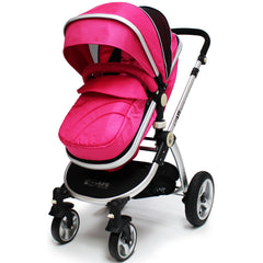 iSafe 3 in 1  Pram System - Raspberry Pink Pram Travel System + Carseat - Baby Travel UK  - 3