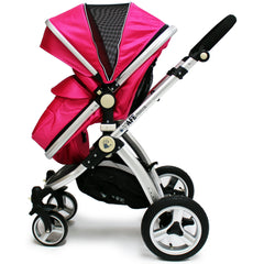 iSafe 3 in 1  Pram System - Raspberry Pink + Carseat Isofix Base + Footmuff & Raincover Package - Baby Travel UK  - 6