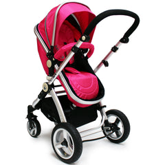 iSafe 3 in 1  Pram System - Raspberry Pink + Carseat Isofix Base + Footmuff & Raincover Package - Baby Travel UK  - 5