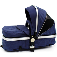 iSafe 3 in 1  Pram System - Navy (Dark Blue) + Carseat + Isofix Base + Footmuff & Raincover Package - Baby Travel UK  - 9