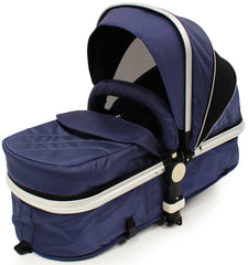 iSafe 3 in 1  Pram System - Navy (Dark Blue) + Carseat + Footmuff & Raincover Package - Baby Travel UK  - 7