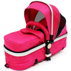 iSafe 3 in 1  Pram System - Raspberry Pink + Carseat Isofix Base + Footmuff & Raincover Package - Baby Travel UK  - 4