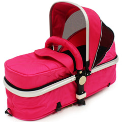 iSafe 3 in 1  Pram System - Raspberry Pink + Carseat Isofix Base + Footmuff & Raincover Package - Baby Travel UK  - 8