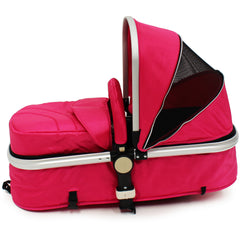 iSafe 3 in 1  Pram System - Raspberry Pink + Carseat Isofix Base + Footmuff & Raincover Package - Baby Travel UK  - 9
