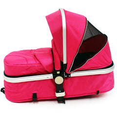 iSafe 3 in 1  Pram System - Raspberry Pink + Carseat Isofix Base + Footmuff & Raincover Package - Baby Travel UK  - 10