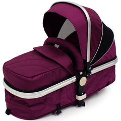 iSafe 3 in 1  Pram System - Plum (Purple) Travel System + Carseat + Bedding - Baby Travel UK  - 13