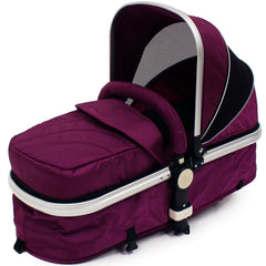 iSafe 3 in 1  Pram System - Plum (Purple) + Carseat + Footmuff & Raincover Package - Baby Travel UK  - 11