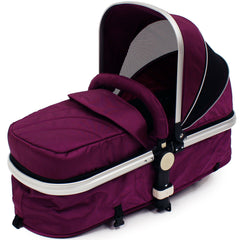iSafe 3 in 1  Pram System - Plum (Purple) Travel System + Carseat + Bedding - Baby Travel UK  - 15